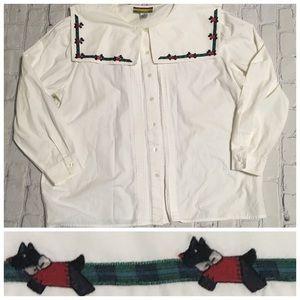Vintage 80's Ruffle White Plaid Scottie Dog Top XL